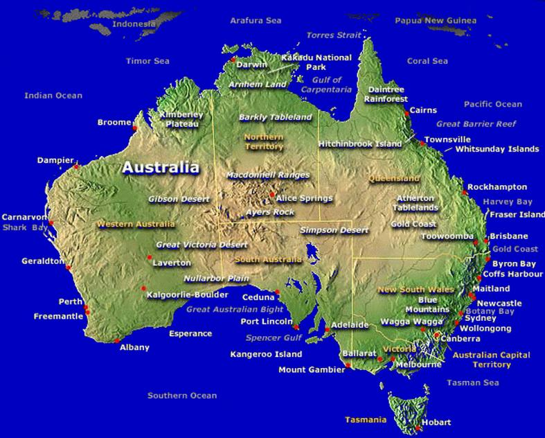 Australia Map Landforms.Australia A Land Of Opportunities